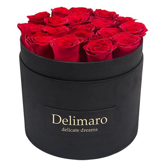 czerwone róże, kwiaty w pudełku, flower box