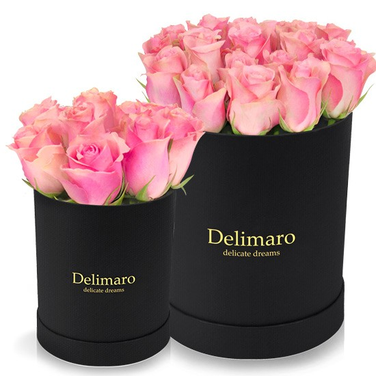 Pink roses in black box, pink flowers in box