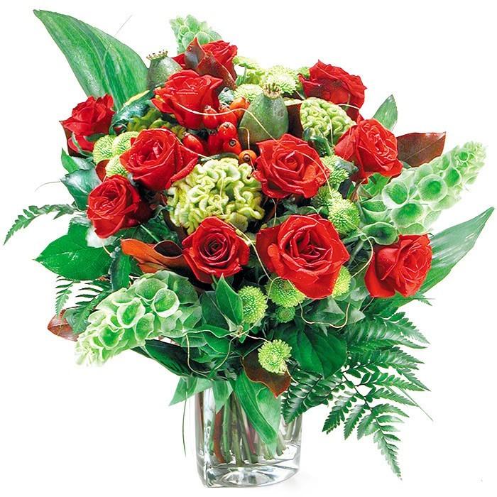 Kwiaty Miłosne w wazonie, kompozycja czerwonych róż i celosii w wazonie, kwiaty zakochanych