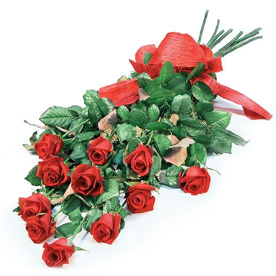 Kompozycja czerwonych róż ze wstążką, kwiaty zakochanych, Wyznanie miłości