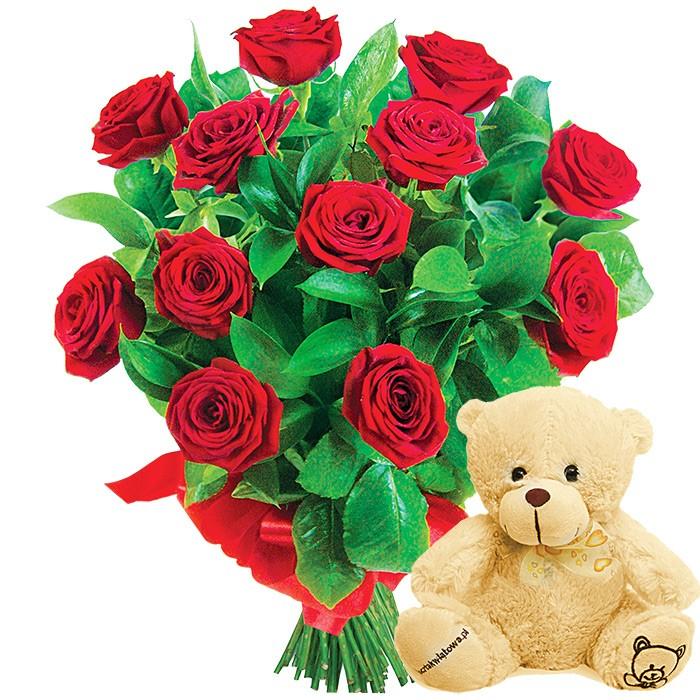 Bukiet z czerwonych róż ze wstążką z dodatkiem maskotki, pluszowy miś, Pluszowa niespodzianka