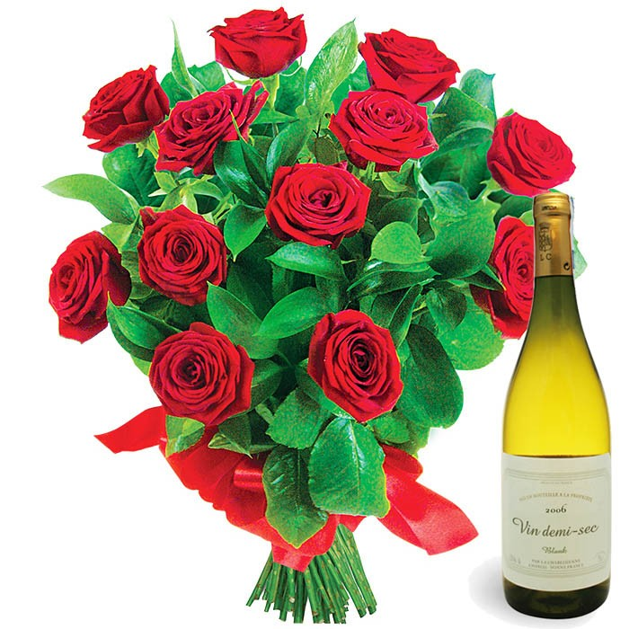 Roses with wine, 12 red roses with greenery, bouquet of red roses with wine