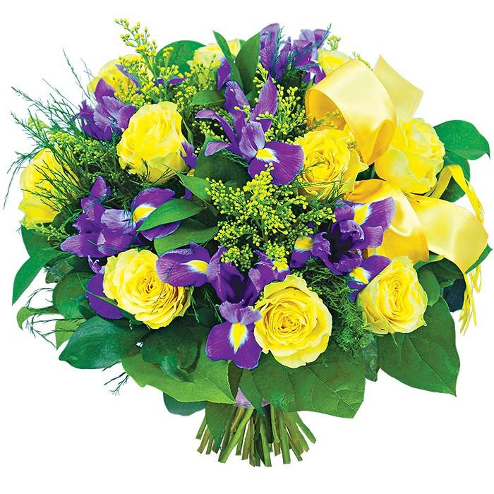 Bukiet dużo szczęścia, kompozycja żółtych róż i fioletowych irysów z dostawą