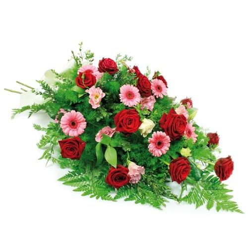 wiązanka pamiętam, wiązanka pogrzebowa z róż gerber eustomy i zieleni dekoracyjnej