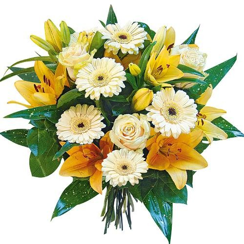Gerbery, róże, lilie, zieleń dekoracyjna w bukiecie, kwiaty dla niej, Kwiaty Słodki Buziak