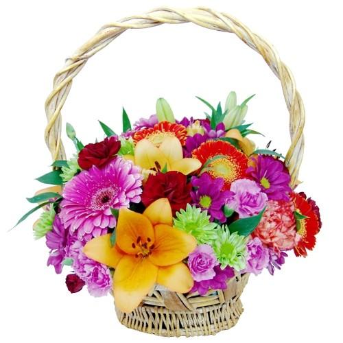 Kompozycja gerber, lilii azjatyckiej, róż, margaretek, goździków w koszu, kwiaty gratulacyjne, Kompozycja Gratuluję