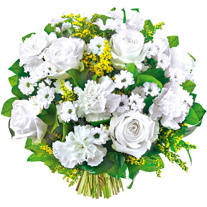 Congratulation flowers for parents, bouquet of white flowers with greenery