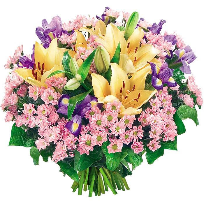 kwiaty dzień dobry, bukiet kwiatów, bukiet z lilii azjatyckich, santini, irysów i zieleni dekoracyjnej, bukiet różowo żółto fioletowo zielony