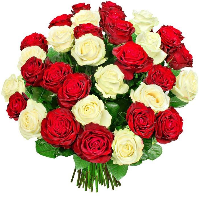 bukiet duet, bukiet kwiatów, bukiet z 35 róż, róże białe, róże czerwone
