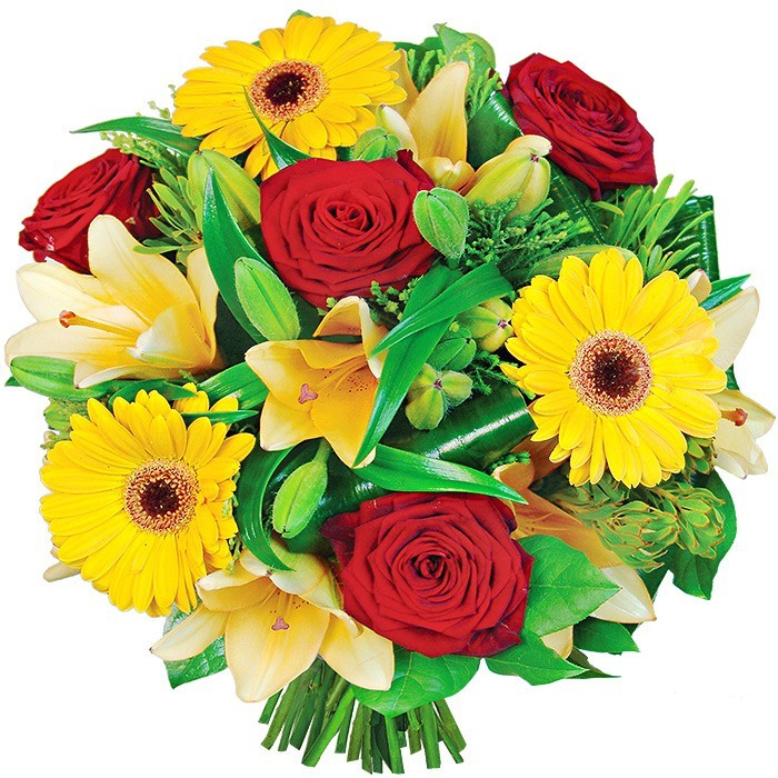 Bouquet smile, bouquet of colourful flowers, gerbera, red rose, decorative green