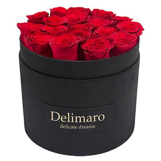 Masterbox - czerwone róże w czarnym pudełku, czarne pudełko zamykane, kwiaty w pudełku, róże w pudełku