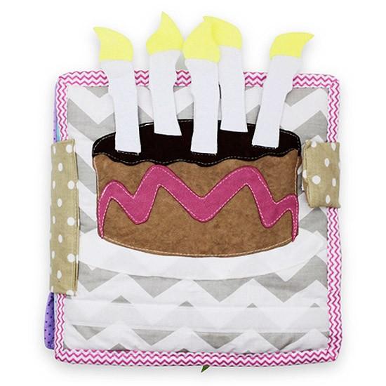 Książeczka sensoryczna Urodzinowy tort, książeczka edukacyjna szyta ręcznie, wykonana z kolorowego materiału