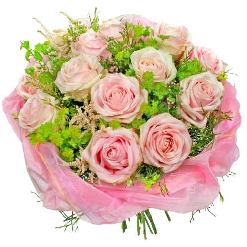 Romantic composition, composition of pink roses and decorative greenery, 13 pink roses