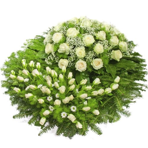 Wreath Deep sorrow, funeral wreath with white flowers and decorative greenery