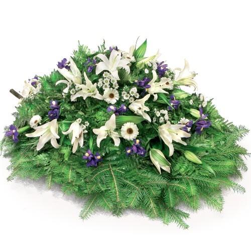 Wiązanka fioletowych irysów, białej gerbery i santini, Wiązanka pogrzebowa