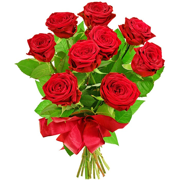 kwiaty miłosny szept, bukiet róż, 9 czerwonych róż, bukiet owinięty czerwoną wstążką