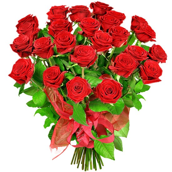Red roses with ribbon, The taste of victory bouquet with delivery
