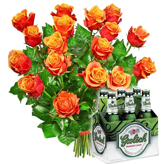 Bouquet for Andrewj, 18 tea roses, six-pack beer