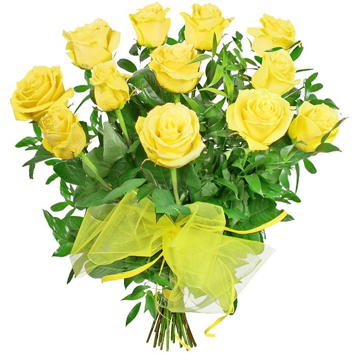 Flowers Sunny, 12 yellow roses with a ruskus, rose bouquet with a yellow ribbon