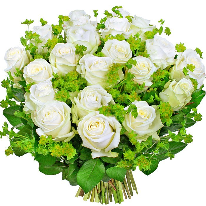 Kwiaty Białe olśnienie, 20 białych róż z dodatkami, bukiet białych róż z dostawą