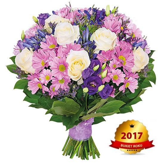 Bukiet z białych róż, margaretek, limonium, agapantu, eustom, zieleni dekoracyjnej, Bukiet impresja, kompozycja ulotnych momentów