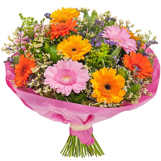 joyful bouquet, gerbera daisy, limonium, bouquet of colourful flowers