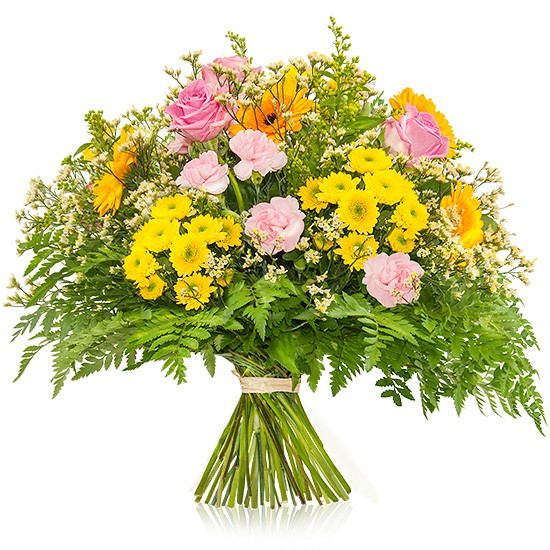 "Sicilian bouquet, yellow pink ""sicilian"" bouquet, pink roses, gypsophila"