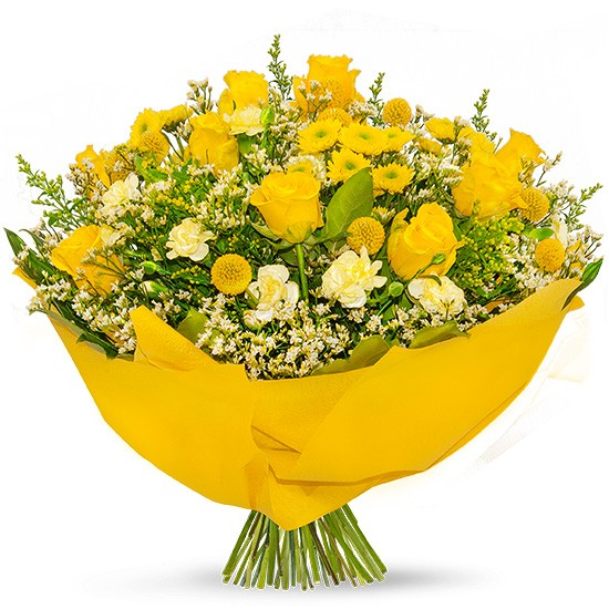 Bouquet Poczta Kwiatowa®, yellow bouqet of flowers with yellow paper