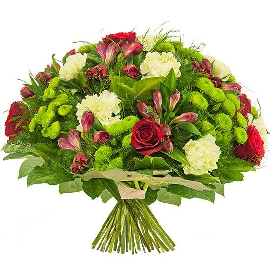 bukiet piękny gest, okrągły bukiet kwiatów, róże czerwone, białe goździki