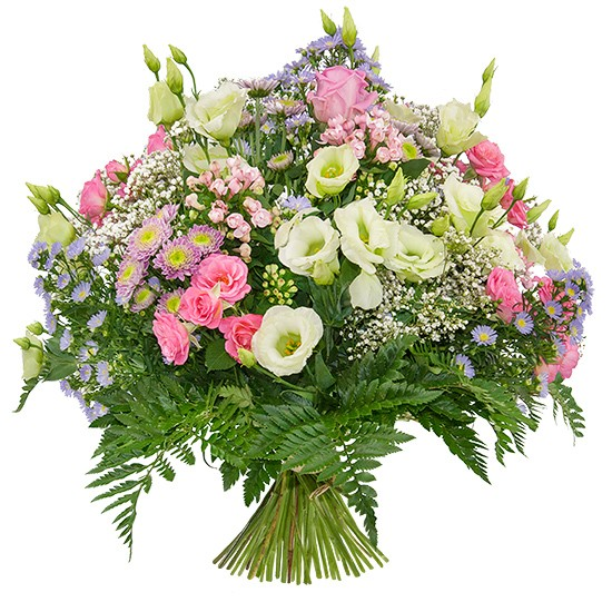 Bouquet colourful meadow, green and pink bouquet, eustoma