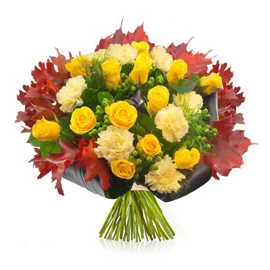 Bukiet Barwy jesieni, jesienny bukiet z żółtych kwiatów i czerwonych liści