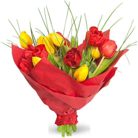 Bouquet gleams, a bouquet of red roses and yellow tulips with grass, a bouquet of flowers wrapped red paper