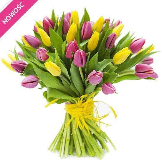 Bukiet Calineczki, żółte i różowe tulipany w bukiecie