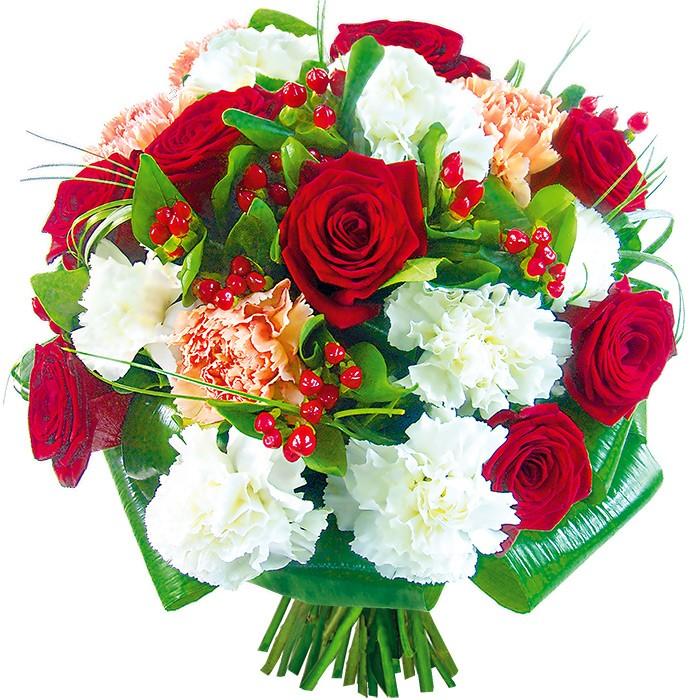 Bukiet czerwonych róż, goździków, hyperikum, zieleni dekoracyjnej, pachnące kwiaty, Bukiet Pachnący