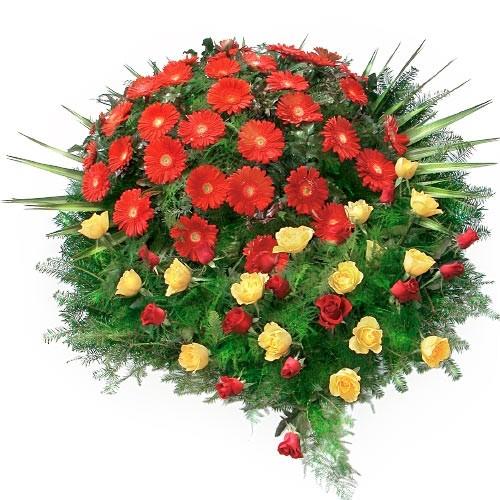 Wieniec z czerwonych gerber, żółtych i czerwony róż i zielonej jodły, Wieniec pogrzebowy, wieniec na pogrzeb