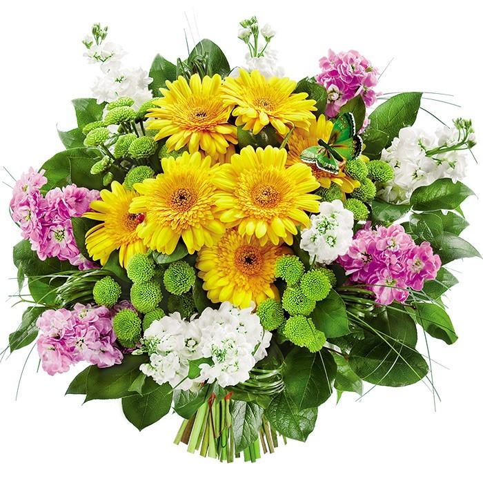 Lewkonia, gerbery, santini i zieleń w bukiecie, Kwiaty Poranek