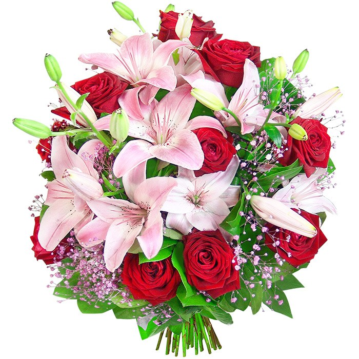 Bouquet success, red roses, pink lilies, decorative green,  bouquet of flowers
