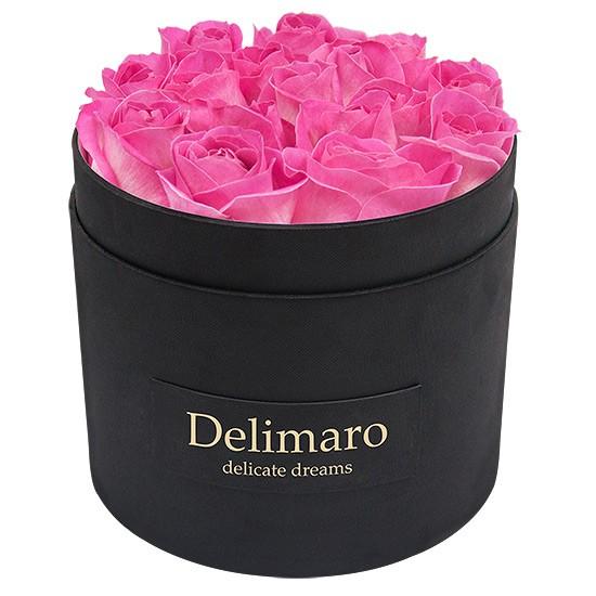 Masterbox - różowe róże w czarnym pudełku, czarne pudełko okrągłe z rantem