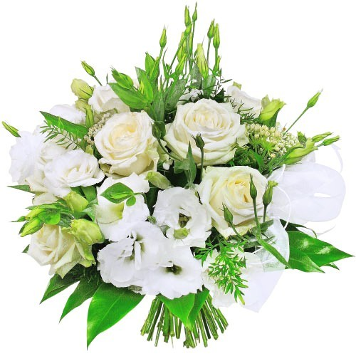 White roses, eustoma and decorative green, white bouquet of flowers, wedding bouquet