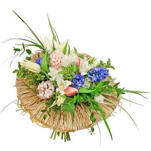 Tulipany, hiacynty, zieleń dekoracyjna w bukiecie,Bukiet Sielanka