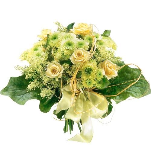 Bukiet z białych róż, białego santini ze wstążką, kwiaty dla kobiety, Kwiaty Kamelia