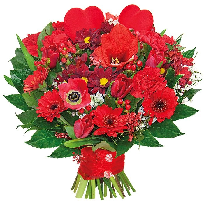 Bouquet of Prima Victoria, amaryllis, gerberas, chrysanthemums, carnations, tulips, anemone, gypsum, hypericum, peak hearts, decorative green in bouquet wrapped in ribbon