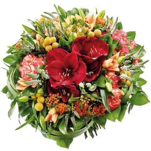 Amarylis, goździki, lilie azjatyckie, alstromeria, crospedia veronica, asclepias, zieleń dekoracyjna w bukiecie, Bukiet Radosny czas
