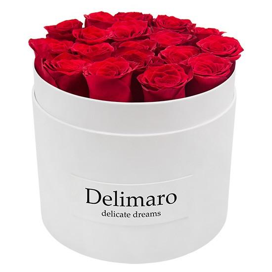 Masterbox - czerwone róże w białym pudełku, okrągłe pudełko z różami