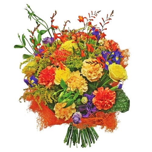 Bouquet holiday, bouquet of flowers, carnation, roses, irises, eustoma, solidago and decorative green