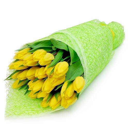 Bukiet 25 żółtych tulipanów w papierze, Bukiet Radosne chwile