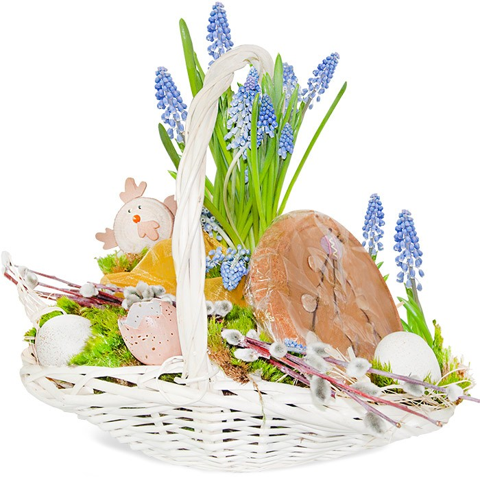 Easter centrepiece with shortcrust tart, centrepiece made of sapphire in a pot, shortcrust tart, decorated with chicken, bases, Easter eggs, blowholes, moss, reef, organza