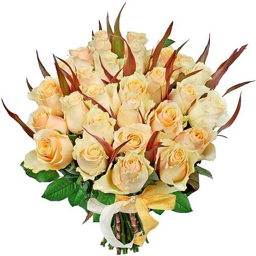 Kwiaty Wybacz mi, 30 kremowych róż z liśćmi kordyliny, bukiet róż przeprosinowy