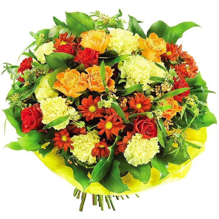 bukiet z paryski, bukiet z różami, goździkami, margaretką i zielenią dekoracyjną w żółtej kryzie