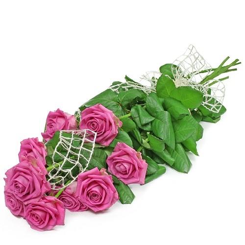 Kwiaty Różowe, 9 różowych róż ułożonych stopniowo, bukiet z różowych róż
